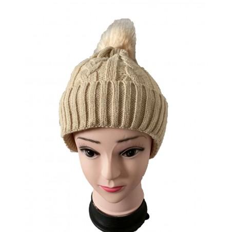 Bonnet femme à pompon coloris beige
