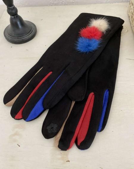 Gants noirs pour femmes aux 3 pompons et doigts multicolores