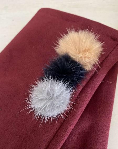 Gants bordeaux pour femmes aux 3 pompons et doigts multicolores