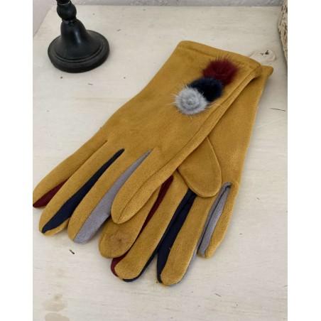 Gants moutarde pour femmes aux 3 pompons et doigts multicolores