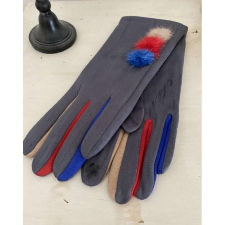 Gants gris pour femmes aux 3 pompons et doigts multicolores