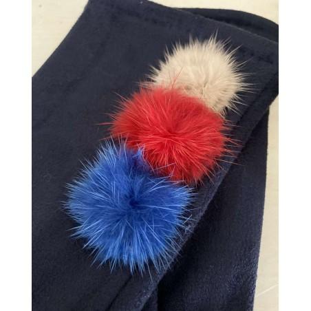 Gants bleu marine pour femmes aux 3 pompons et doigts multicolores