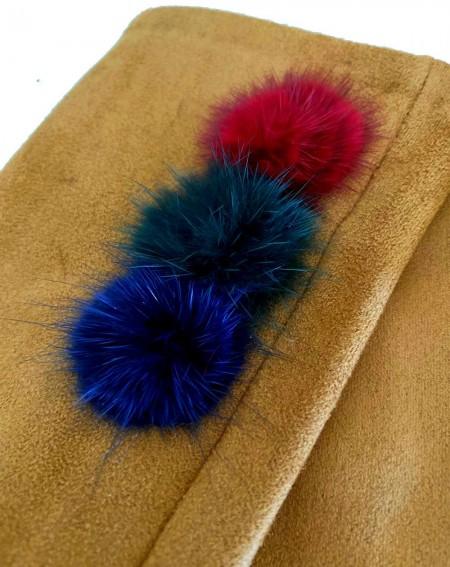 Gants beige pour femmes aux 3 pompons et doigts multicolores