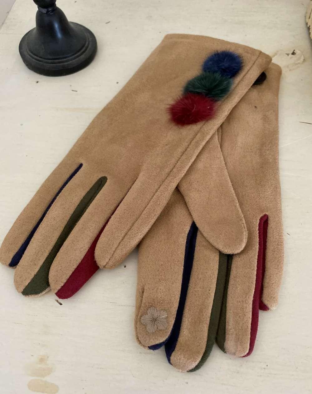 Gants camel pour femmes aux 3 pompons et doigts multicolores
