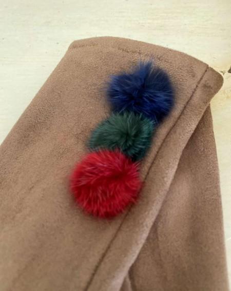 Gants marron pour femmes aux 3 pompons et doigts multicolores