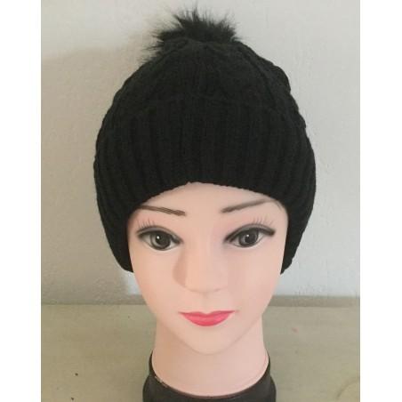 Bonnet pompon coloris noir