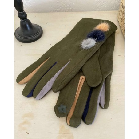 Gants kaki pour femmes aux 3 pompons et doigts multicolores