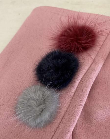Gants rose poudré pour femmes aux 3 pompons et doigts multicolores