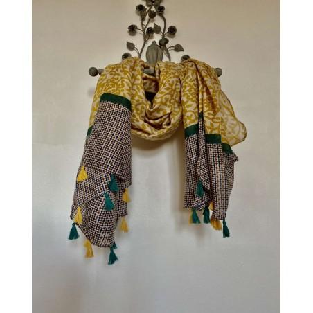 Foulard à pompons pour femmes, à motifs moutardes et verts