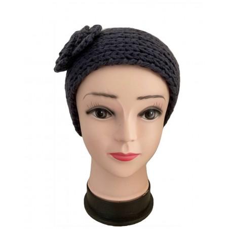 Headband fleur et tendance coloris gris anthracite