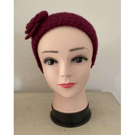 Headband à fleur et tendance coloris bordeaux