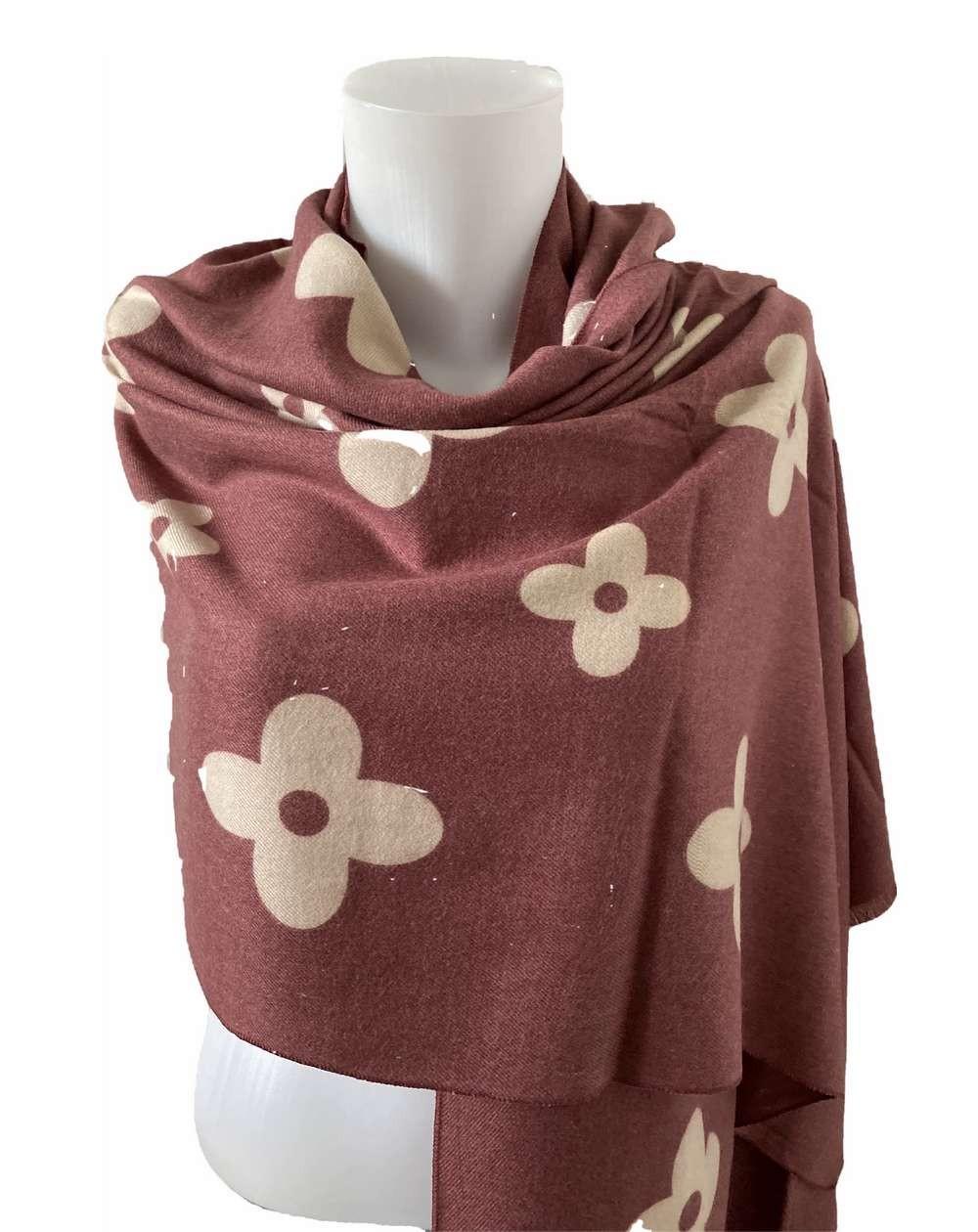 Étole à motifs beiges sur fond vieux rose foncé en pure laine vierge