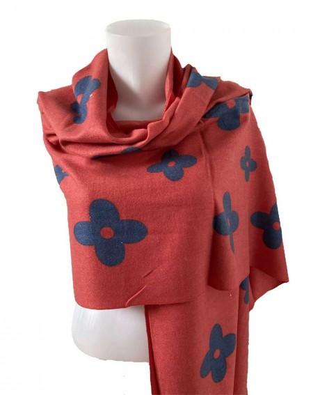 Étole à motifs gris anthracites sur fond rouge framboise en pure laine vierge