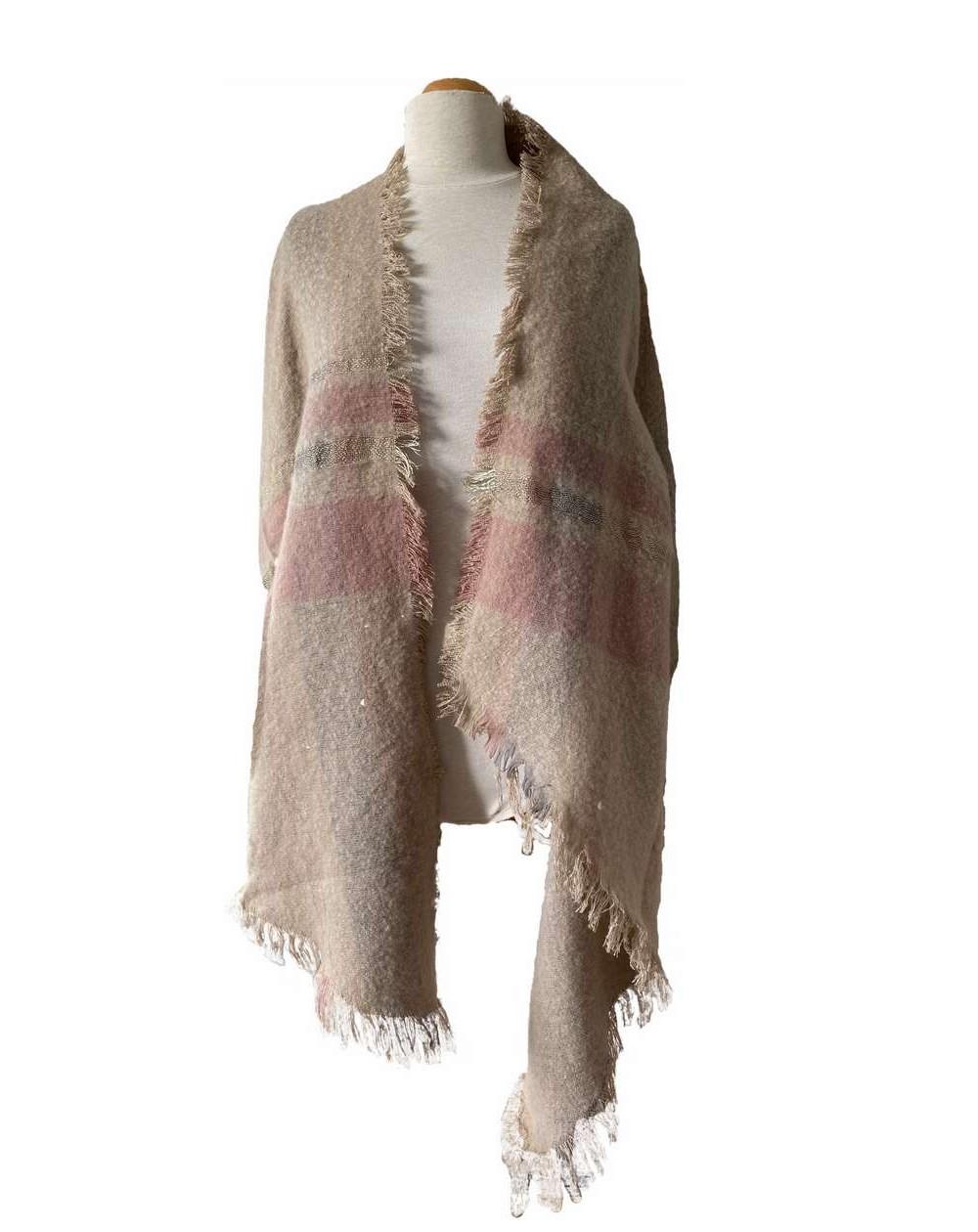Grande écharpe châle beige et rose