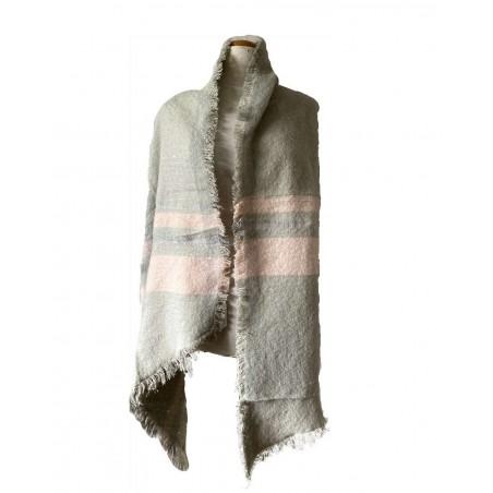 Grande écharpe châle grise et bandes roses