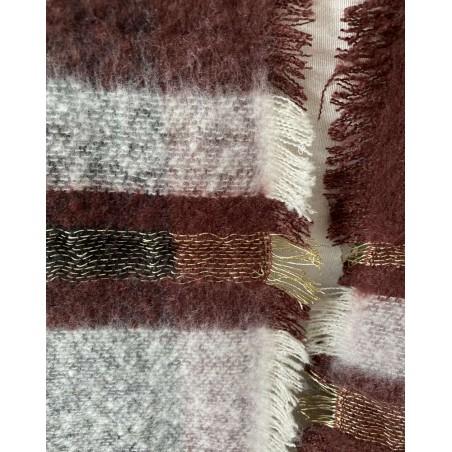 Grande écharpe châle bordeaux et bandes grises