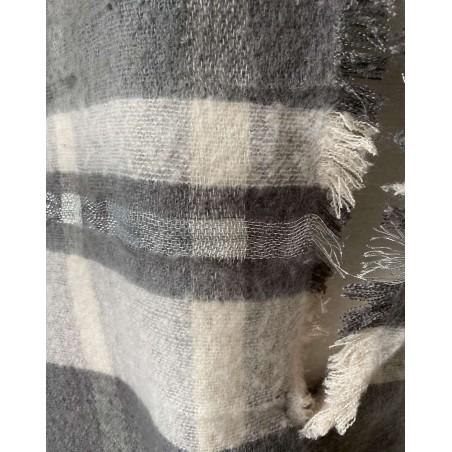 Grande écharpe châle gris et bandes beiges