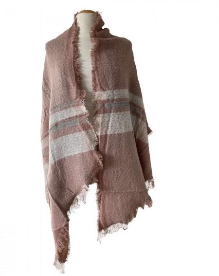 Grande écharpe châle rose et bandes grises
