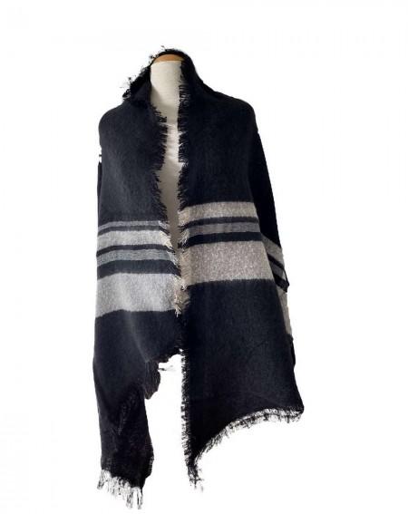 Grande écharpe châle noir et bandes grises