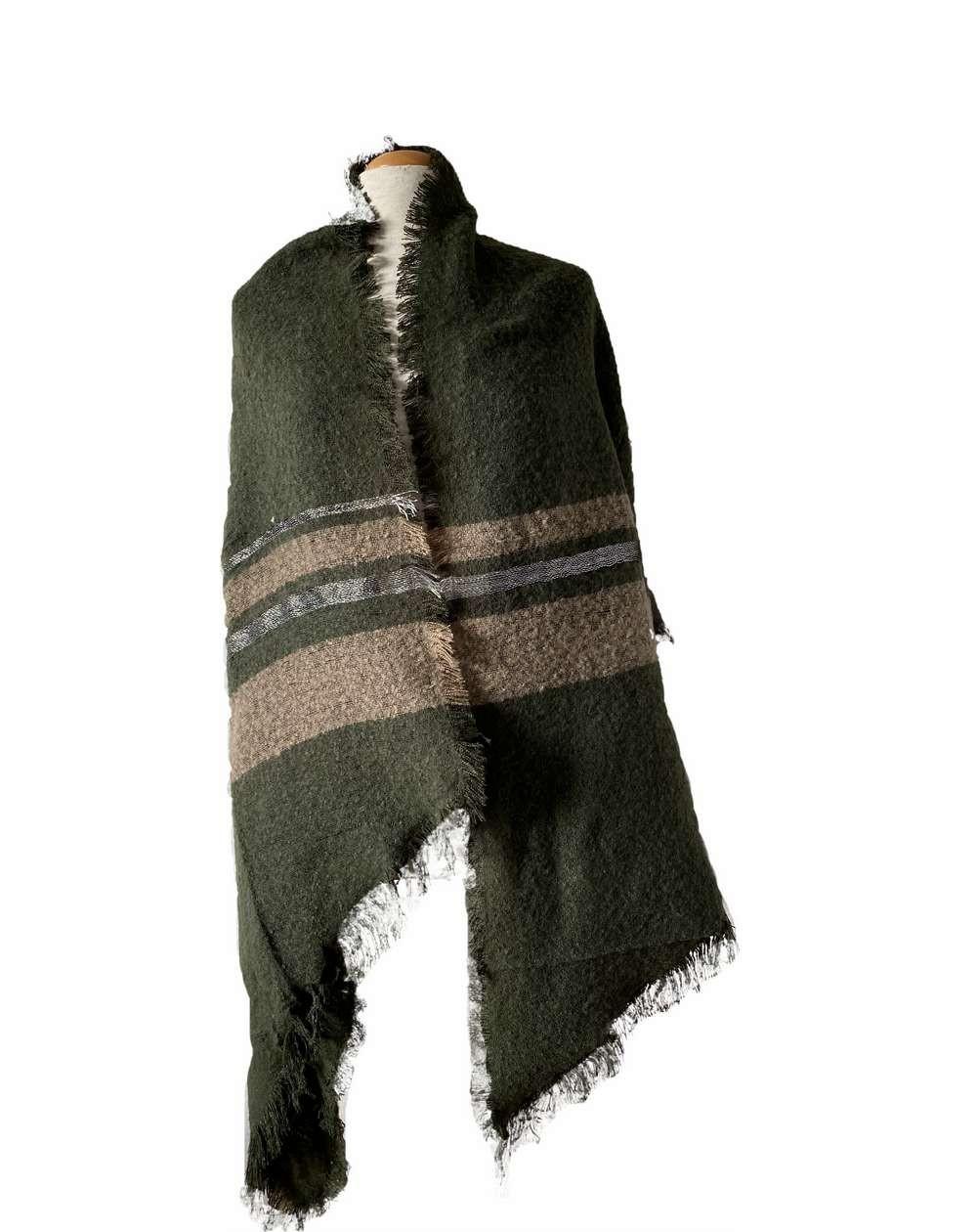 Grande écharpe châle kaki et bandes marrons