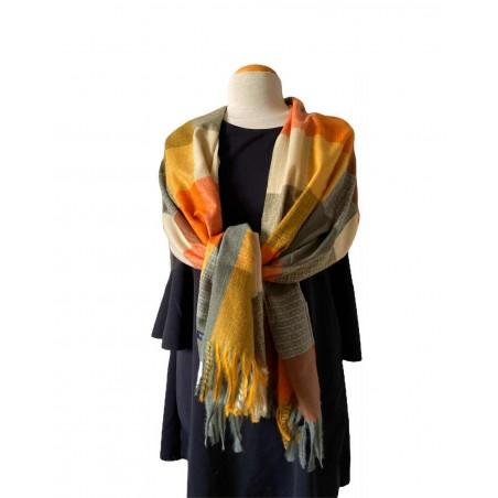 Écharpe cachemire multicolore orange et grise