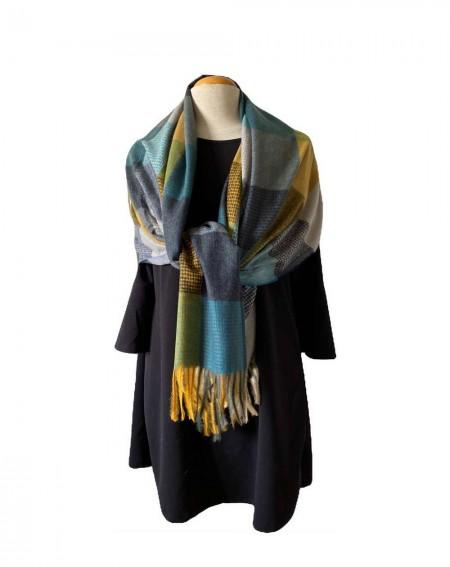 Écharpe cachemire multicolore bleu/vert et gris