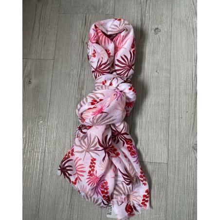 Foulard fantaisie pour femmes à motif floral rose et rouge