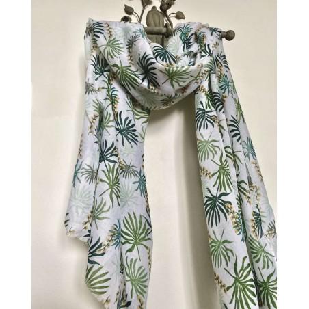 Foulard fantaisie pour femmes à motif floral vert