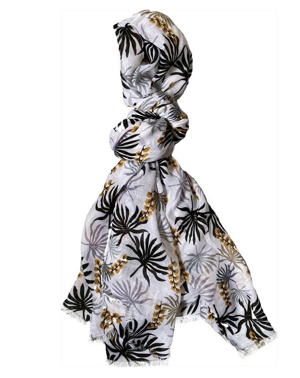 Foulard fantaisie pour femmes à motif floral gris et noir