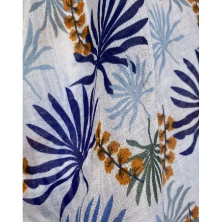 Foulard fantaisie pour femmes à motif floral bleu et bleu marine