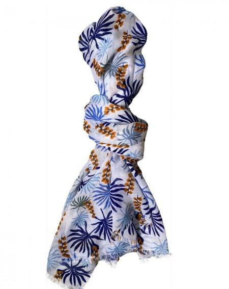 Foulard pour femmes à motif floral bleu et bleu marine