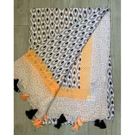 Foulard à pompons pour femmes, à motifs gris, saumons et noirs