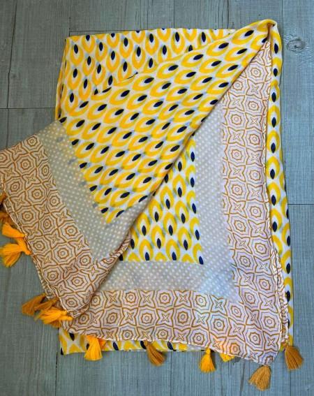 Foulard à pompons pour femmes, à motifs jaunes, beiges et noirs