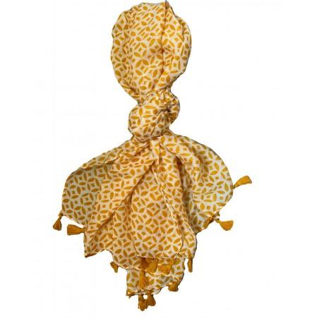 Foulard jaune moutarde et pompons pour femmes