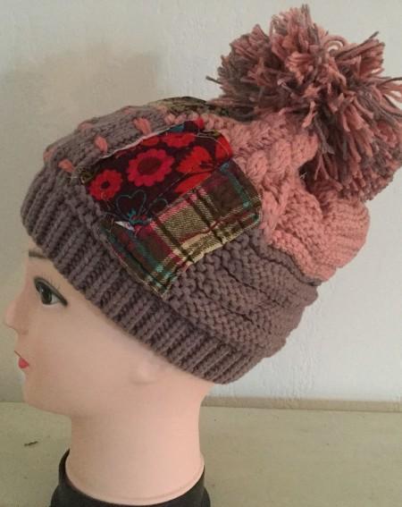 Bonnet femmes fantaisie façon patchwork coloris rose