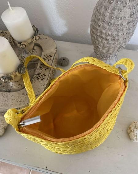 Sac en paille rond, tressé coloris jaune