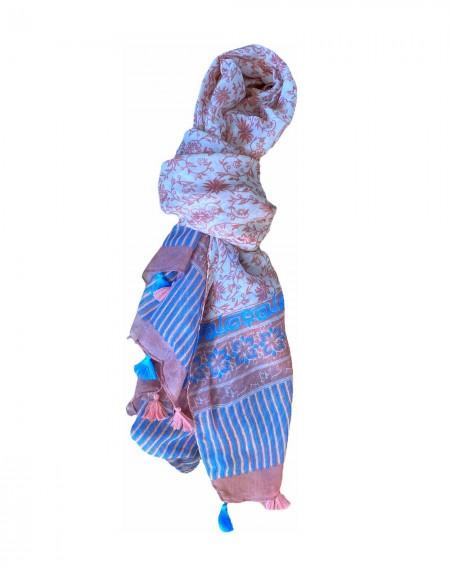 Foulard femme rose et turquoise à pompons